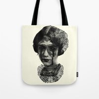 sylvia plath Tote Bags featuring Sylvia by DIVIDUS