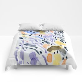 Yellows and purples in watercolor Comforters