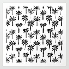 Palm Tree linocut pattern minimal tropical black and white minimalist Art Print