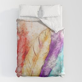 Watercolor Feathers Comforters