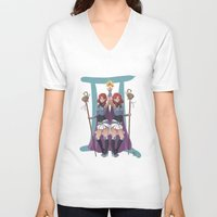 gemini V-neck T-shirts featuring Gemini by Kumiko