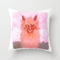 alpaca Throw Pillows featuring Alpaca!!! by J Han