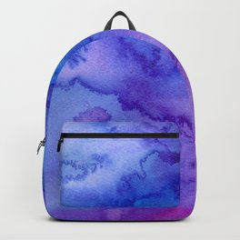 Blue purple pink hand painted watercolor pattern Backpack