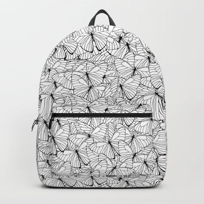 Butterflies Black on White Backpack
