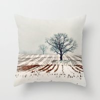farm Throw Pillows featuring Winter Farm by elle moss