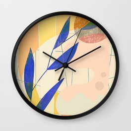 Shapes and Layers no.9 - Leaves and Grid Wall Clock