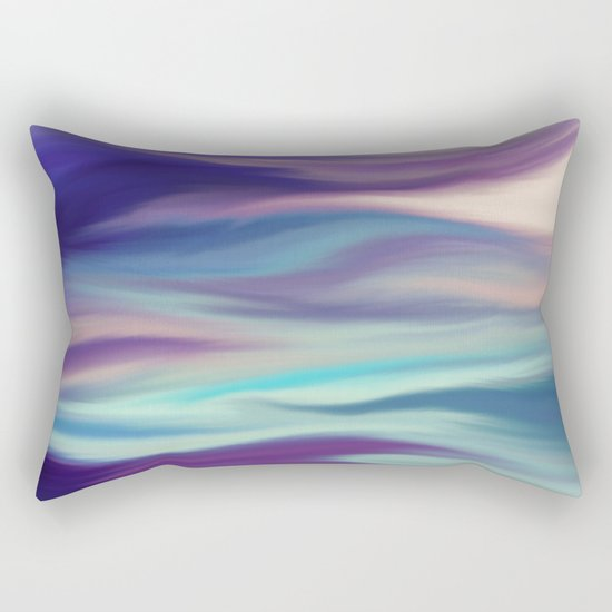 Painted digital silk texture blue colors Rectangular Pillow