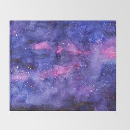 Galaxy Pattern Watercolor Throw Blanket