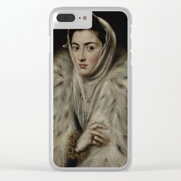 El Greco – Lady in a Fur Wrap Clear iPhone Case