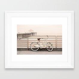 Bicycle at Manhattan Beach Pier, Riding Bikes at the Beach, Beach Art Print, California Summer Framed Art Print