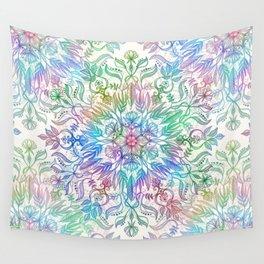 Nature Mandala in Rainbow Hues Wall Tapestry