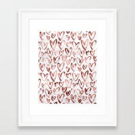 Rose Gold Love Hearts on Marble Framed Art Print