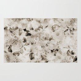 Vintage shabby elegant white gray roses floral Rug