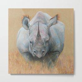 RHINOCEROS Wildlife African animal Safari style Realistic pastel drawing Metal Print