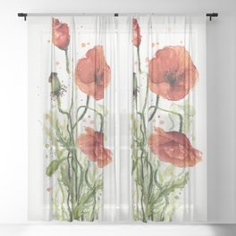 Red Poppies Watercolor Sheer Curtain