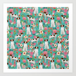 Brittany Spaniel florals pattern dog gifts for dog lovers cute puppies pet portrait Art Print