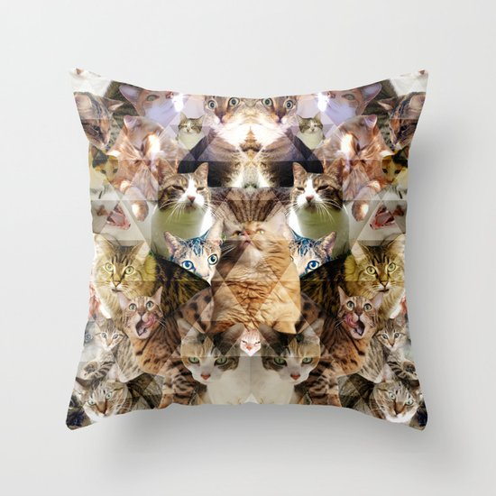 Cat Kaleidoscope Throw Pillow