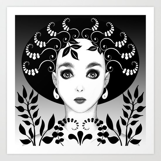 Black and white floral portrait Art Print