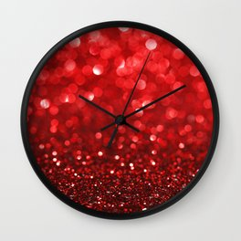 Ruby Red Disco Glitter & Sparkles Wall Clock