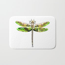 Dragonfly illustrated flying insect Bath Mat