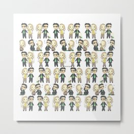 Good Omens Chibis Metal Print