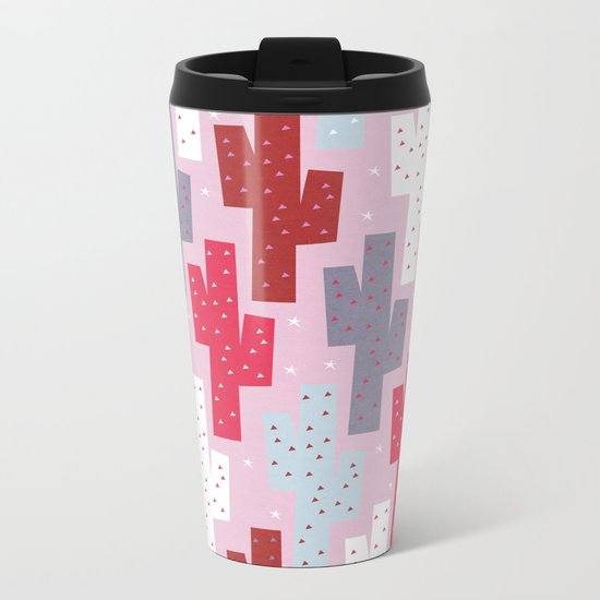 Sweet cactus pattern Metal Travel Mug