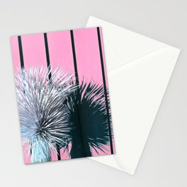 Yucca Plant in Front of Striped Pink Wall Stationery Cards