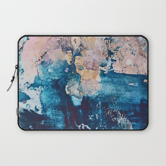 Breathe Again: a vibrant mixed-media piece in blues pinks and gold by Alyssa Hamilton Art Laptop Sleeve