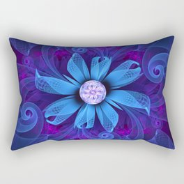 A Snowy Edelweiss Blooming as a Blue Origami Orchid Rectangular Pillow
