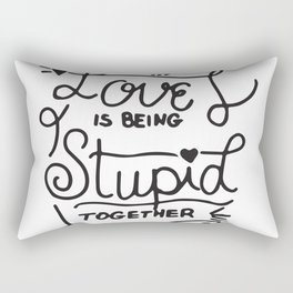 Simple Black and White Hand Drawn Love Quote Rectangular Pillow