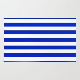 Cobalt Blue and White Horizontal Beach Hut Stripe Rug