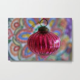 Pink Christmas Ball With Colorful Vintage Embroidery Background Metal Print