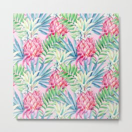 Pineapple & watercolor leaves Metal Print