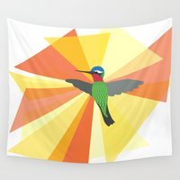 hummingbird Wall Tapestries featuring Hummingbird by Icela perez bravo