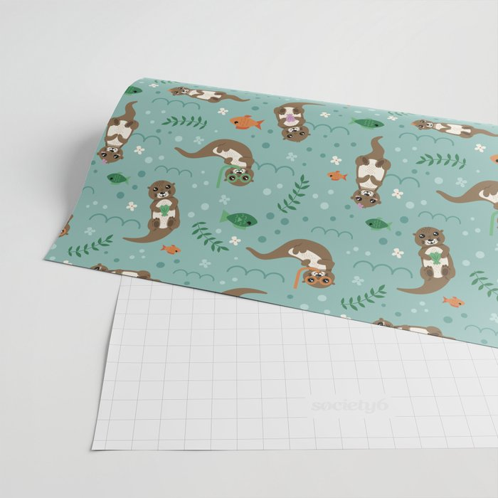 Kawaii Otters Playing Underwater Wrapping Paper