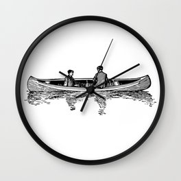 Men in Canoe Sketch Detailed Illustration Wall Clock