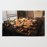 thanksgiving Area & Throw Rugs featuring Thanksgiving Dinner by Alice Scheuerman