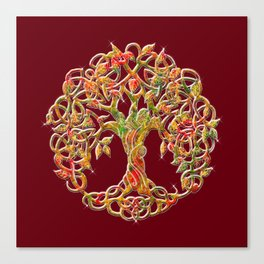 Tree of Life Maroon Canvas Print
