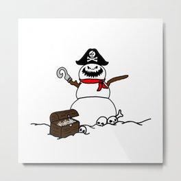Pirate Snowman Metal Print