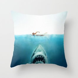First And Last Swim Of The Day Throw Pillow