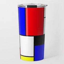 Red Blue Yellow Geometric Squares Travel Mug