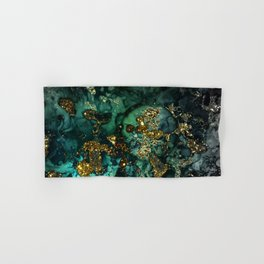 Gold Indigo Malachite Marble Hand & Bath Towel