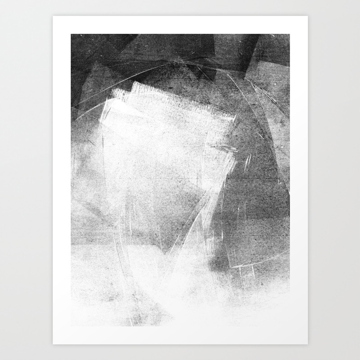 Black and white ethereal minimalist abstract painting art print