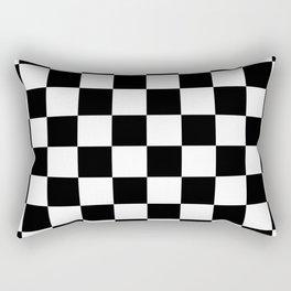 Checkered Pattern: Black & White Rectangular Pillow