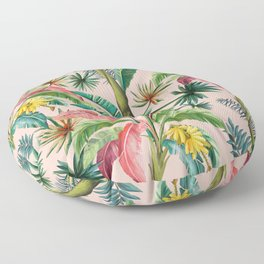 Palm Life, tropical palm leaves, banana palm, Hollywood Regency, green, pinks Floor Pillow