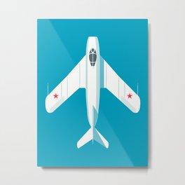 MiG-17 Fresco Jet Aircraft - Cyan Metal Print