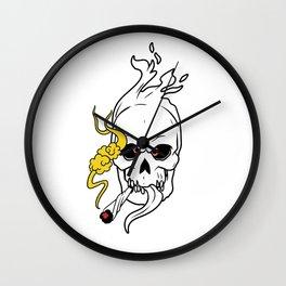 Flaming Skull Smoking Weed Wall Clock