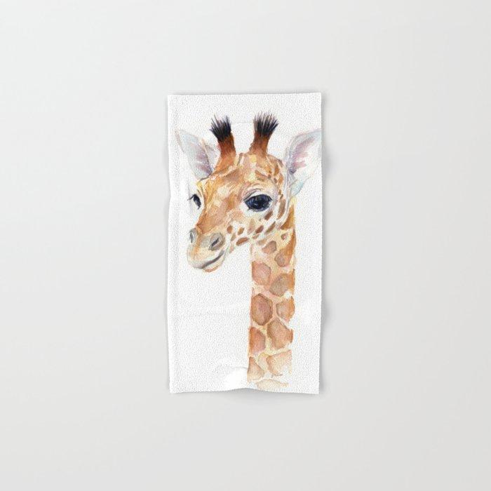 Baby Giraffe Cute Animal Watercolor Hand & Bath Towel