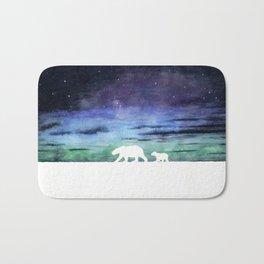 Aurora borealis and polar bears (white version) Bath Mat