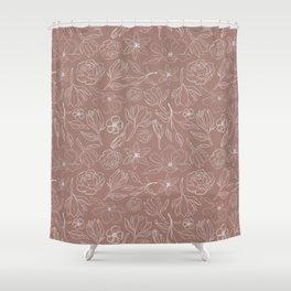 Mauve Magnolia Pattern Shower Curtain